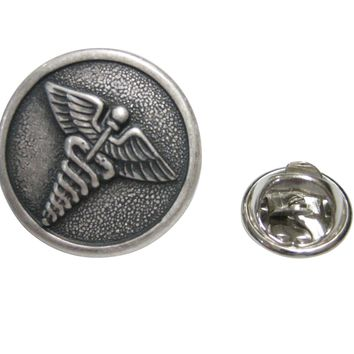 Silver Toned Round Medical Caduceus Symbol Lapel pin