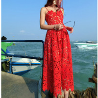 High-end custom  style 2017 summer fashion runway hollow out dress Lace embroidery sexy party long dresses