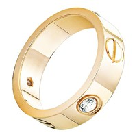 OMFEE Stainless Steel Designer Screw Head CZ Band Love Wedding Ring Gold Finish,Sizes 5 - 10