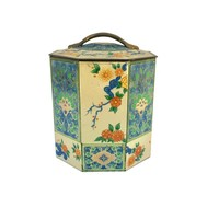 Vintage Asian Metal Tea Caddy with Floral Pattern, Tin Kitchen Canister, Kitchen or Bathroom Storage, Rustic Old Tin, Airtight Stash Tin