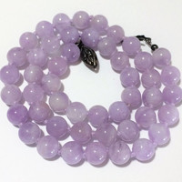 Lavender Rose Quartz Bead Necklace 8mm Round Beads Hand Knotted Cord Available Jewelry Set Artisan Handmade Piece 418
