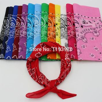 Hot Sale Printed Paisley Cotton Bandanas Men Pocket Square Ladies Headband Headscarf Neckerchief Headwear Handkerchief TJ9001