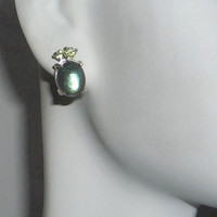 Genuine Labradorite & Peridot Earrings Sterling Silver