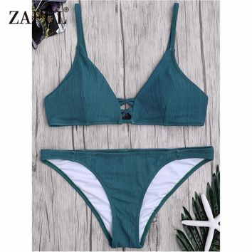 Zaful Bikini 2018 New Criss Cross Swimsuit Women Spaghetti Strap Texture Swimsuit Mid Waisted Solid Color Bathing Suit Biquni
