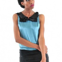Bow Silk SleevelessTop - Diva Hot Couture