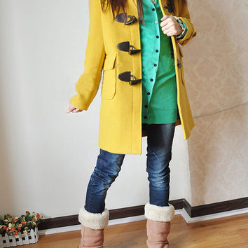 Yellow Hooded Jacket Wool Spring Coat Ox Horn Button Winter Jacket Long Coat-WH026 M-3XL