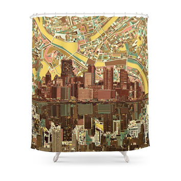 Society6 Pittsburgh City Skyline Shower Curtains