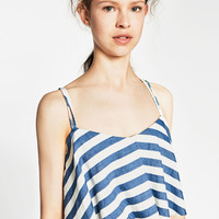 STRIPED AND FRILLED DENIM TOP - TOPS-SALE-WOMAN   ZARA United States