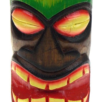 Beachcombers Wood Tiki Tea Light Totem Green Blue Large Bar Decor Candle Holder