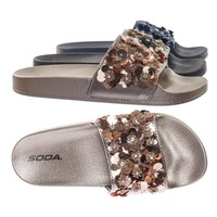 Saker by Soda Molded Footbed Slides w Rhinestone Sequins Flower Embellishment