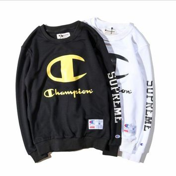 ONETOW Champion autumn section printing men's terry material hedging straight round neck long-sleeved sweater