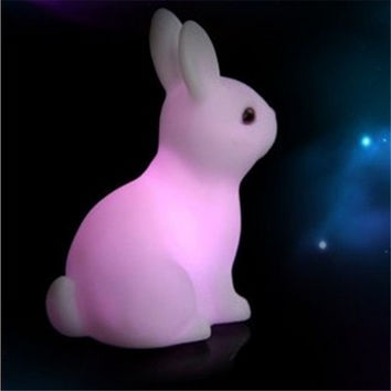 Novelty Rabbit Lights Led Night Lamp Light Favor Gift Toy Sleep ting RGB Colorful Art Decor Led ting 1PCS