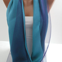 Turquoise and Navy Blue Shawl/Scarf by DIDUCI on Etsy