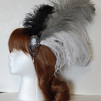 Monochrome Cameo Ostrich Feather Fascinator, Hair Clip or Hat Pin