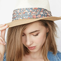 Colorblocked Straw Fedora