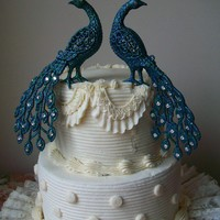 Pair of Peacocks Cake Topper Embellished with by Parisxox on Etsy