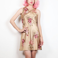 Vintage 1990s Dress Champagne Gold Shiny Floral Print Mini Dress Sleeveless Pink Floral Soft Grunge Asian 90s Dress Rave S Small M Medium
