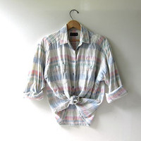 80s button up shirt. plaid flannel shirt. pastel colors. preppy button up shirt.