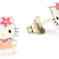 Hello Kitty Girl's Sterling Silver Enamel Stud Earrings