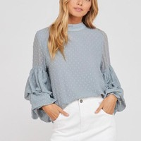 I got news - bubble sleeves woven women's top - sage
