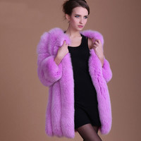 Fashion 2016 Faux Fox Fur Coat Women Winter Thick Medium Long Luxury Fur Coat Female Mink Jacket Overcoat FS0316