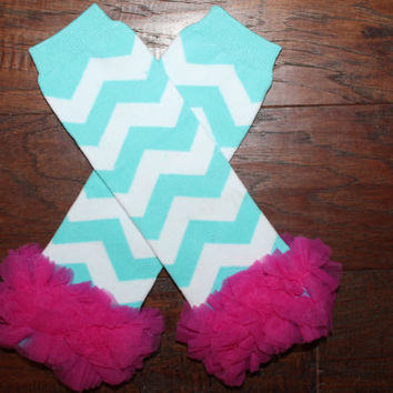 Aqua Chevron Baby Leg Warmers with Hot Pink Chiffon Ruffles, Baby Leg Warmers