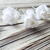 White Rose Hair Pin - Floral Bobby Pins, Bridal Hair Pins - Weddings - Bridesmaids Hair - Wedding flower crowns - Floral head piece