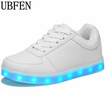 2017 Luminous neon Led light Shoes adults Women Flat shoes Glowing USB Charging Light