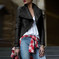 Faux Leather Lapel Zippered Moto Jacket