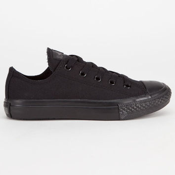 Converse Chuck Taylor All Star Low Boys Shoes Black Monochrome  In Sizes