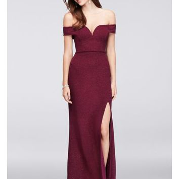V-Wire Off-The-Shoulder Glitter Knit Gown | David's Bridal