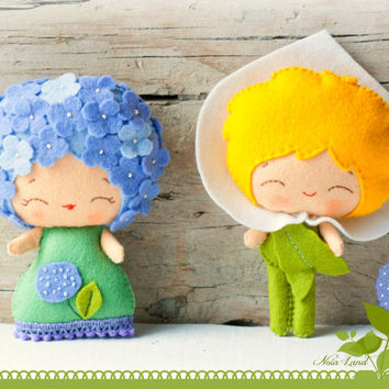 PDF Pattern. The Hydrangea and the Arum lily. Plush Doll Pattern, Softie Pattern, Soft felt Toy Pattern.