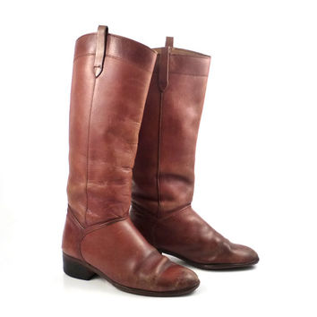 Brown Flat Boots Vintage 1980s Riding Women's size 6 1/2