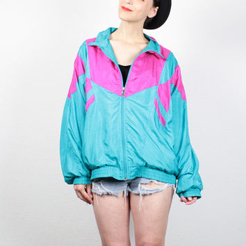 Vintage 1980s Windbreaker Jacket Teal Green Pink Color Block Track Jacket 1980s Wind Breaker Sporty Athletic Bomber Jacket L Extra Large XL