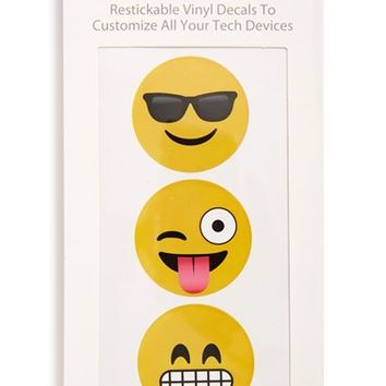 iDecoz 'Emoji' Restickable Vinyl Tech Decals - Yellow (3-Pack)