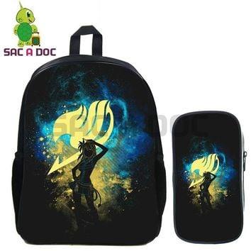 Anime Backpack School kawaii cute Fairy Tail 2 Pcs/set Backpack Natsu Gray Erza Shadow School Bags for Teenage Girls Boys Daily Backpack Kids Book Bags AT_60_4