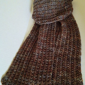 Scarf Knit Rib, Reversible, Stone, Gray, Grey, Rust, Gold, Brown