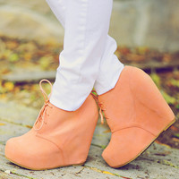RESTOCK: Put A Wedge In It Booties: Peach | Hope's