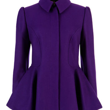 SOLLEL - Short peplum coat - Deep Purple | Womens | Ted Baker UK