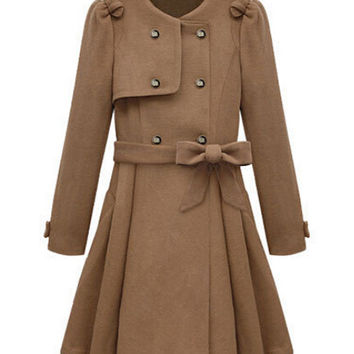 Long Sleeve Double-Breasted Bow Belted Skater Wool Coat