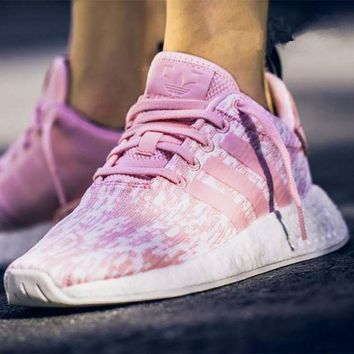 PEAPGE2 Beauty Ticks Adidas Nmd R2 Pink Women Cherry Blossoms Running Sport Casual Shoes Sneakers