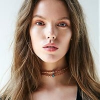 Free People Womens Double Leather Short Choker