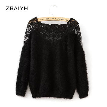 ZBAIYH Autumn Winter Women Pullover Lace Patchwork Mohair Sweaters Lady Warm Knitted Solid Outwear Loosen Poncho Knitwear Jumper