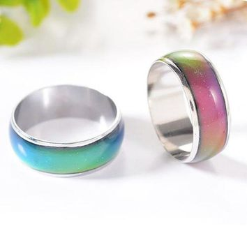 VONEFX8 3Pcs Women Men Temperature Emotion Feeling Color Changing Mood Ring Jewelry