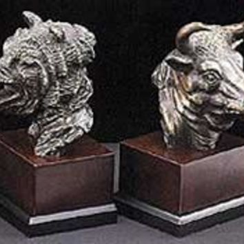 Bear and Bull Heads Stock Market Bronze Bookends - 4882