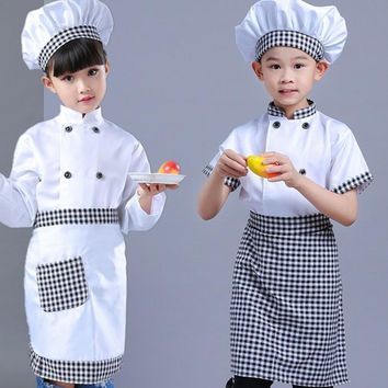 Cool New Kids Chef Costumes Cook's Clothing Boys Cosplay Chef Jacket Apron Hat Set Kitchen Uniform Girls 2-16 Years ClothingAT_93_12