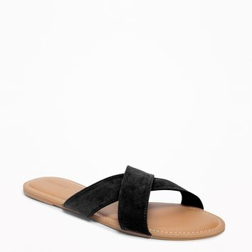 Sueded Cross-Strap Slide Sandals for Women|old-navy