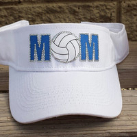 Volleyball mom rhinestone sun visor  MOM is done in your teams colors- Can be done for COACH as well