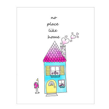 Childrens Wall Art No Place Like Home Nursery by wonderlaneart