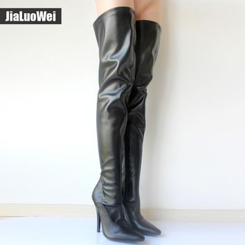 Jialuowei Hot Sale ladies sexy fetish thigh high Heel boots Women Casade pointed toe stiletto Thin heel crotch Long shoes